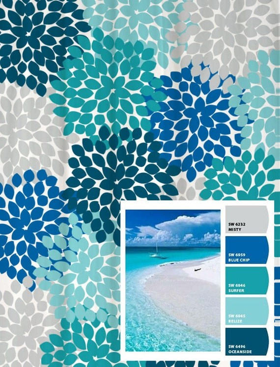 Shower Curtain in Blue and Gray Beach Inspired Floral Standard and ...