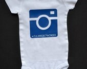 Custom Camera Hashtag Baby Onesie - Blue Camera Design