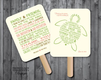 Personalized Sea Turtle | Seaside | Beach | Nautical | Tropical Wedding Ceremony Program Fan - Digital File