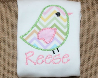 Bird Shirt, Tee, or Bodysuit, Personalized Precious Sweet Tweet Bird Applique