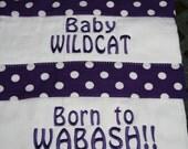 Set of 2 K-State Baby Burp Cloth- Polka dots