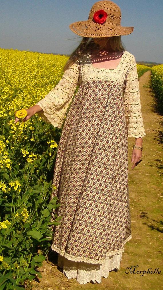 Vintage 70er jahre hippie boho indische baumwolle maxi kleid for Indische inneneinrichtung