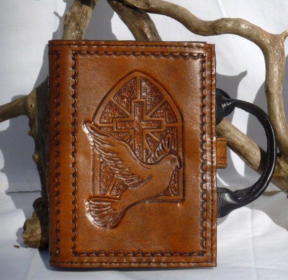 Bible Cover with dove flying in front of church window with optional handles (Custom made for your Bible)