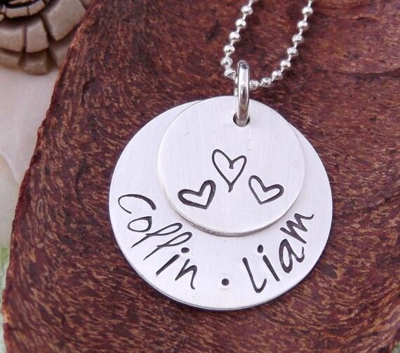 Mommy Jewelry-  Personalized Mother Necklace- Hand Stamped Mommy Necklace- Engraved Mother Necklace- Grandma Jewelry