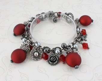 Ruby Red and Hematite Charm Bracelet