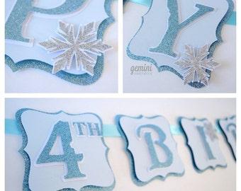 Happy Birthday Banner, Winter Wonderland Frozen Birthday Banner, Glitter Banner