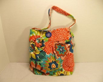 Bright and Cheery Flowered Canvas Tote