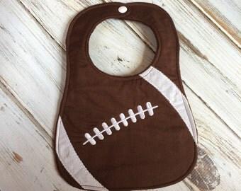 Football Bib, Baby Bib, Customizable, Minky Bib