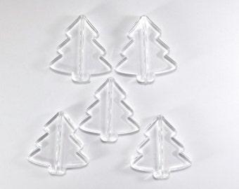 Acrylic Bead: Christmas Tree, Transparent Clear, 41x39mm, Set of 5, Tree Beads, Pine Tree Beads, Acrylic Beads, Christmas Beads, ACB034