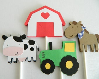 Farm Cupcake Toppers Barnyard Cupcake Toppers Farm Animal Cupcake Toppers Farm Birthday Party Barnyard Birthday Party  • Set of 24