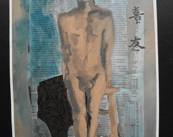 Original figure study, mixed media on watercolour paper, from live male model, 10 X 14, Figure 46