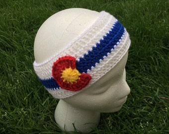 Crochet Colorado Flag Headband Earwarmer- Reverse -Baby, Toddler, Child, Teen, Adult Sizes, Colroado Ear Warmer, Ski, Skiing, Snowboarding