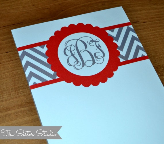 Personalized Notepads - Custom Stationery - Monogram - Paper Pads