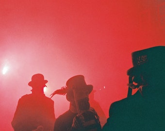 """Bonfire Night, Lewes, Photography, Smoke, Silhouette, Red, Guy Fawkes 8"""" x 10"""""""