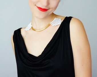 Summer Party Lace Necklace Gold Bar Necklace Arc Necklace Angel Necklace Wing Necklace Bridal Necklace Wedding Necklace For Her / DESERTES