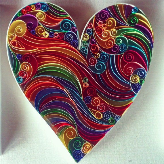 Items similar to love heart paper quilling art on etsy for Quilling designs for beginners