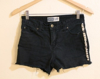 SALE: Black High Wasit Studded Denim Shorts