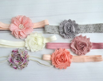 Shabby chic baby headband set of 6 headbands, newborn headband, infant headbands, baby hair bow, baby shower gift, vintage baby headband set