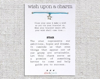 STAR - Wish Bracelet - Silver Charm - Hemp Cord - Choose Your Own Color