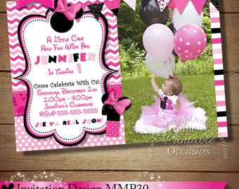 HUGE SELECTION Pink Chevron Minnie Mouse Birthday Invitation, First Second Third Birthday Invitations, DIY Minnie Mouse Birthday Party