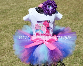 My First Birthday Butterfly Tutu Set - Baby Infant Toddler  -  Butterfly Birthday Tutu Set