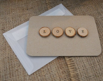 Rustic Love Card / Valentine Card - kraft paper with stamped timber discs