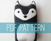 DIY Wolf Pattern Woodland Pillow Plush - Fleece Fabric Animal Plushie - Do It Yourself Craft for Children and Adults - Make Your Own Toy