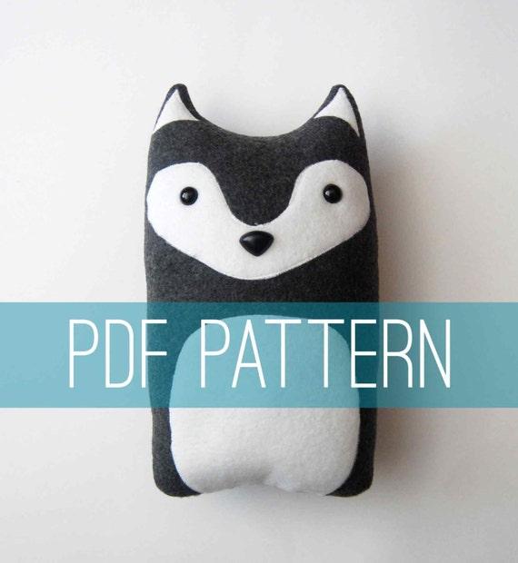 How To Make Stuffed Animal Pillows : DIY Wolf Pattern Woodland Pillow Plush Fleece Fabric Animal