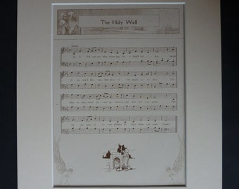 Antique Christmas Carol Print - Xmas Sheet Music Gift - Holy Well - Available Framed - Christmas Gift - Carol Singing Print - Musical Notes