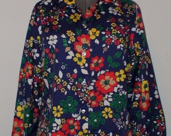 Vintage Flower Power Blouse!  Bright and Colorful! 1970's!