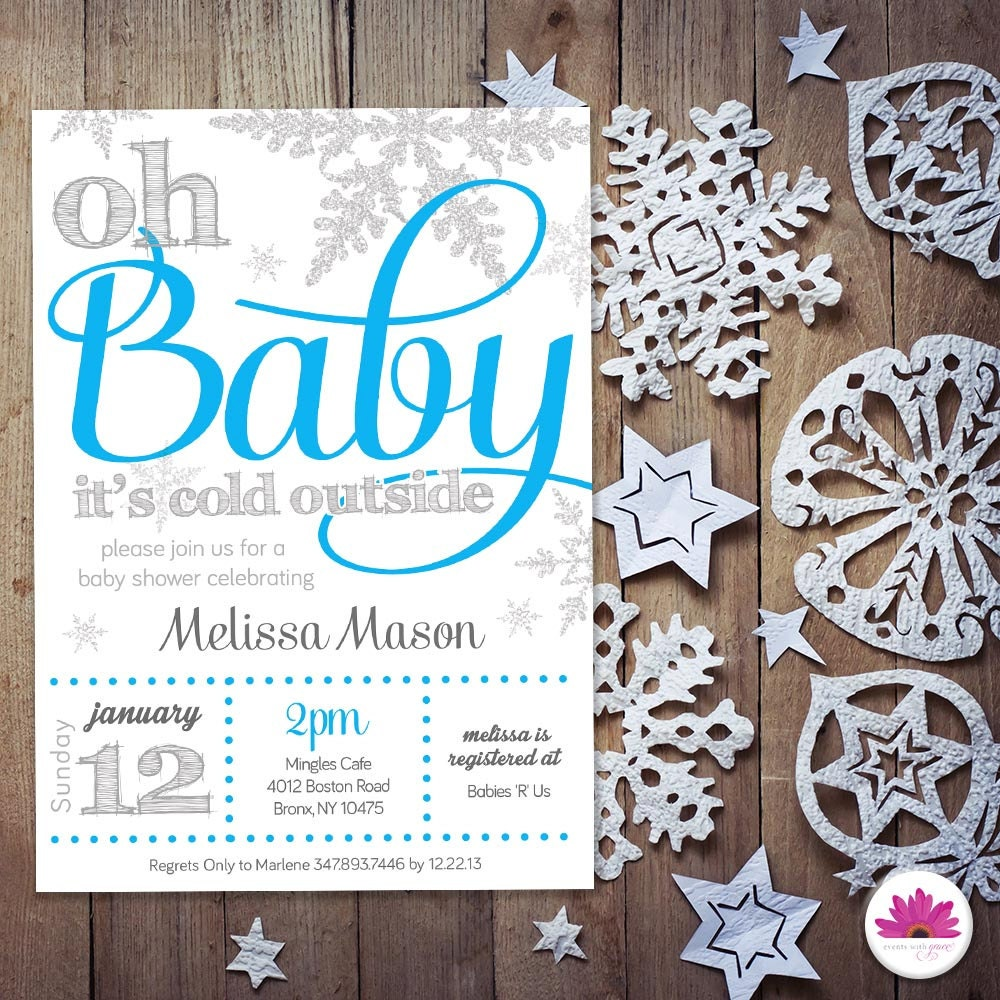 baby boy shower invitation winter wonderland by eventswithgrace