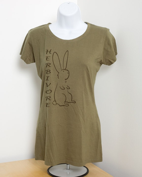 Herbivore bunny rabbit ladies vegetarian bamboo t by for Bamboo t shirt printing