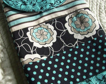 Turquoise and Black Patchwork E-Reader Sleeve, Mini iPad Sleeve