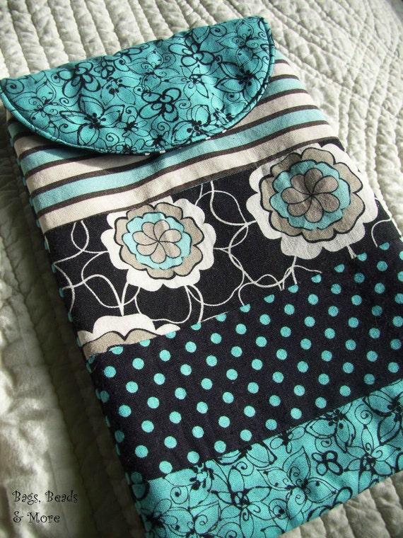 Turquoise and Black Patchwork E-Reader Sleeve, Mini iPad Sleeve