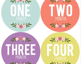 Monthly Onesie Stickers Floral Girl