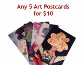 Choose Any 5!** 5x7 Postcard Art Print Set Illustration Lowbrow Pop Surrealism