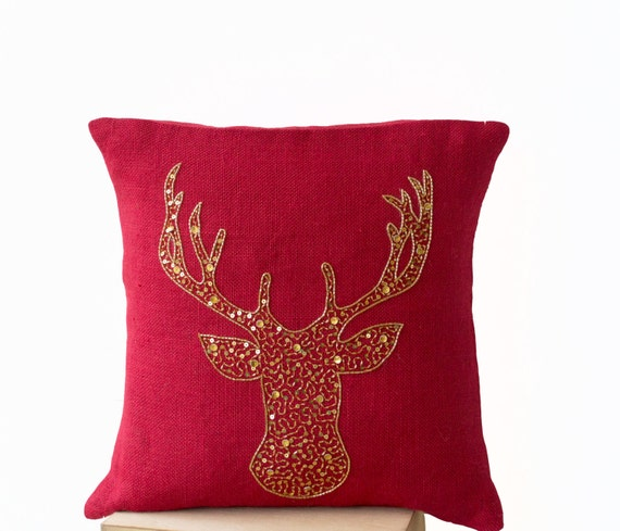 Deer pillow covers animal stag embroidered in gold