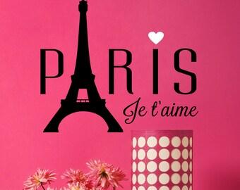 Eiffel Tower Decal - Paris Decals- I Love Paris Wall Decal - Wall Decor - Wall Decals - Decals - Paris - Housewares - Home Decor