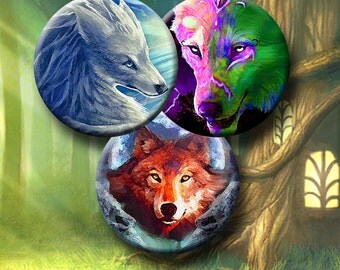 MYSTICAL WOLF - Digital Collage Sheet 1 & 1.5 inch circle images for bottle caps, pendants, round bezels, etc. Instant Download #164.