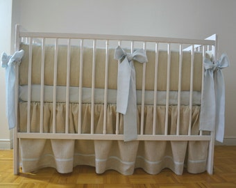 Linen Crib  bedding - gathered skirt and 4 side bumper - Nursery bedding, boy nursery, gender neutral nursery