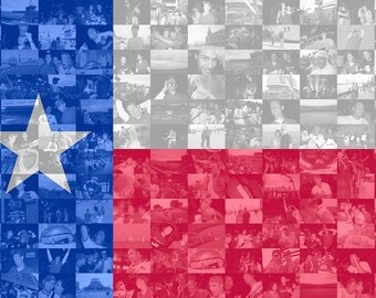 Texas State Flag Photo Mosaic Print - Custom Personalized Photo Collage Wall Art