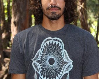 Shark Jaws t-shirt - white print on soft colors. Fish bone shirt. Ocean themed dream catcher shirt.
