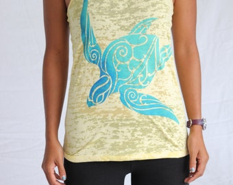 Bright Sea Turtle Tank - Aqua blend on up to four Burnout tank top colors. Hawaii Honu Cultural Motif.