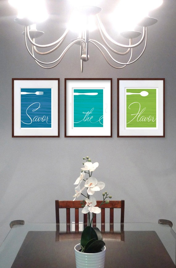 dining room art prints fork knife spoon set of 3 savor the