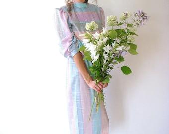 Pastel vintage dress, mint summer dress, women, size M