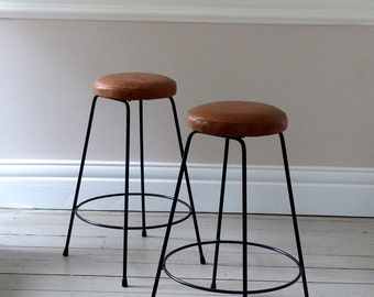 Pair Of Vintage French Leather Bar Stools