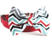 Chevron Dog Bow Tie - Grey Black White Red and Turquoise Blue Pet Bow Tie