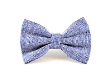 Denim Chambray Bow Tie - Denim Blue Chambray Linen Detachable Pet Bow