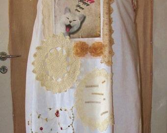 Happy Cat......Plus size shabby chic dress made of repurposed fabrics