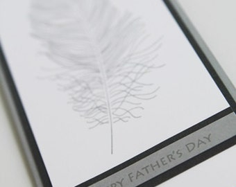 Happy Father's Day Feather Hand Made Card, Thinking of You Dad Greeting Card